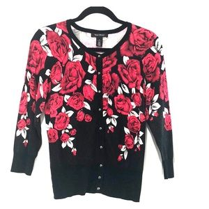 WHBM red and black flowered button-up cardigan!